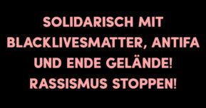 Solidarisch mit BlackLivesMatter, Antifa und Ende Gelände – Rassismus stoppen!